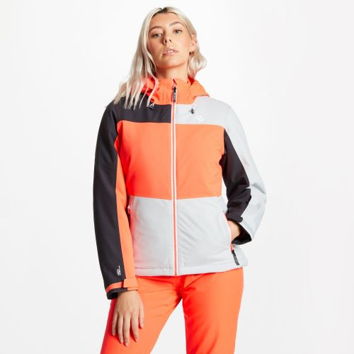 Women's Purview Ski Jacket - Argent Grey Fiery Coral Ebony